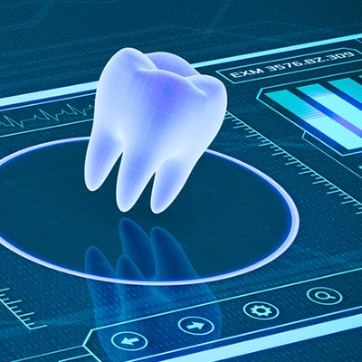 A 3D tooth suspended over high-tech digital displays